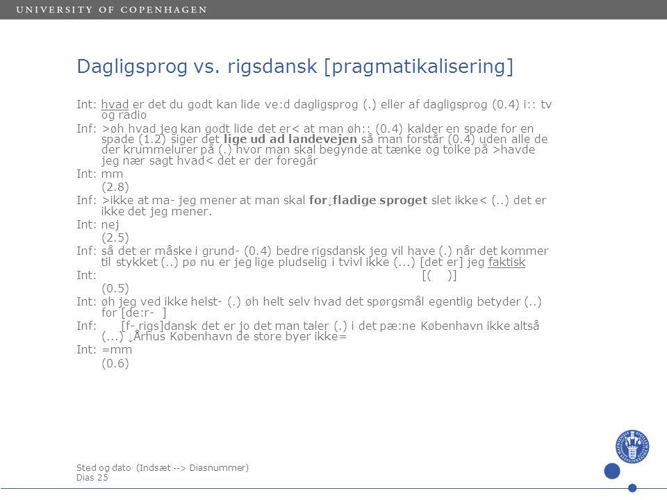 Sted og dato (Indsæt --> Diasnummer) Dias 25 Dagligsprog vs.