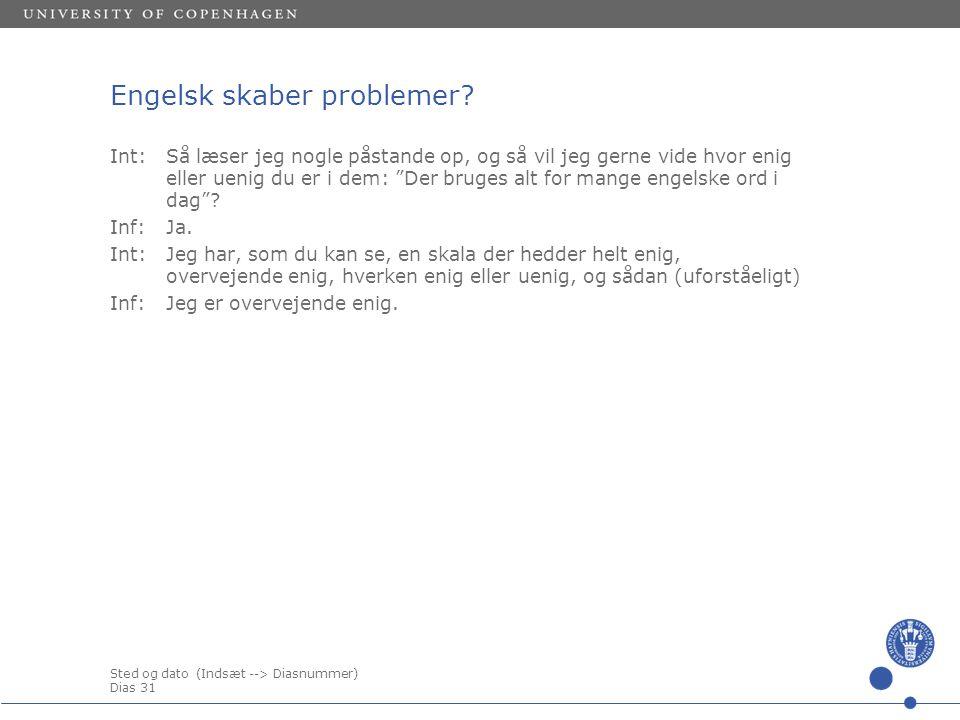 Sted og dato (Indsæt --> Diasnummer) Dias 31 Engelsk skaber problemer.