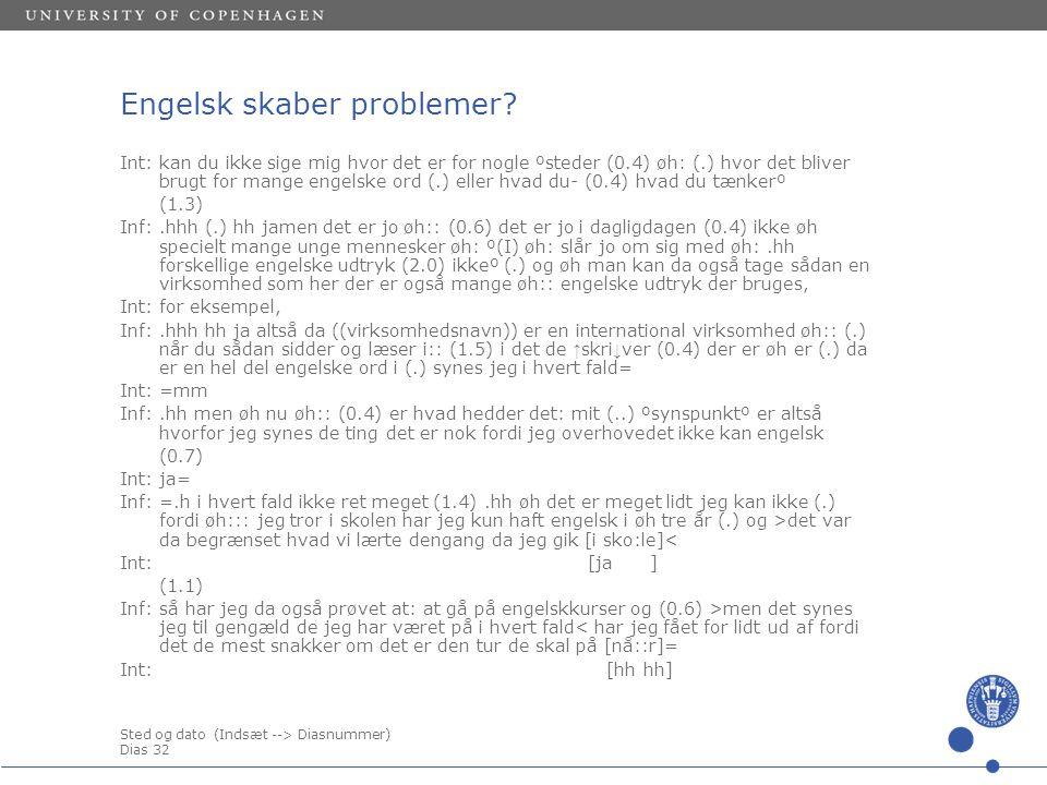 Sted og dato (Indsæt --> Diasnummer) Dias 32 Engelsk skaber problemer.