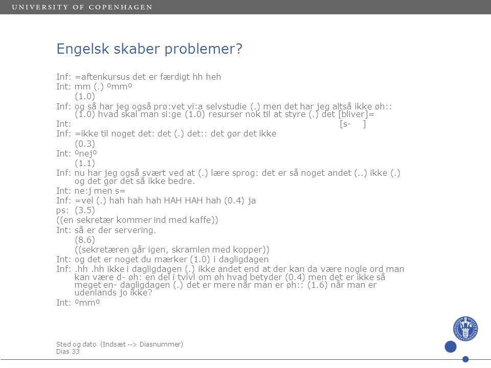 Sted og dato (Indsæt --> Diasnummer) Dias 33 Engelsk skaber problemer.