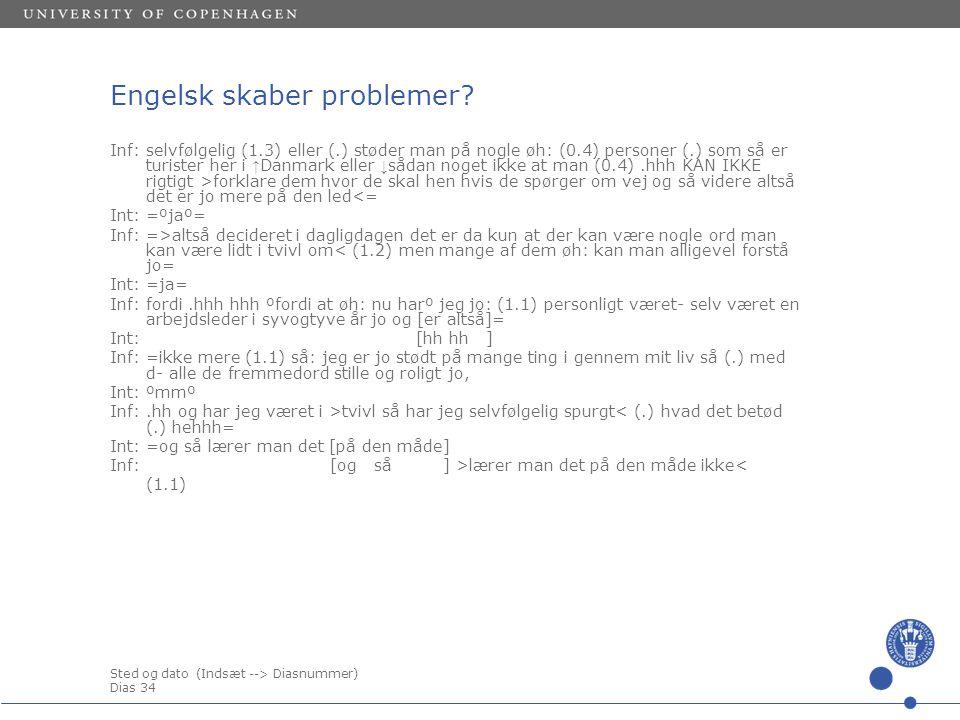 Sted og dato (Indsæt --> Diasnummer) Dias 34 Engelsk skaber problemer.