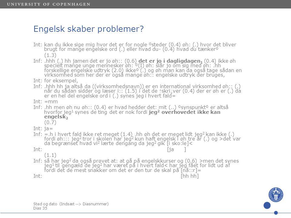 Sted og dato (Indsæt --> Diasnummer) Dias 35 Engelsk skaber problemer.