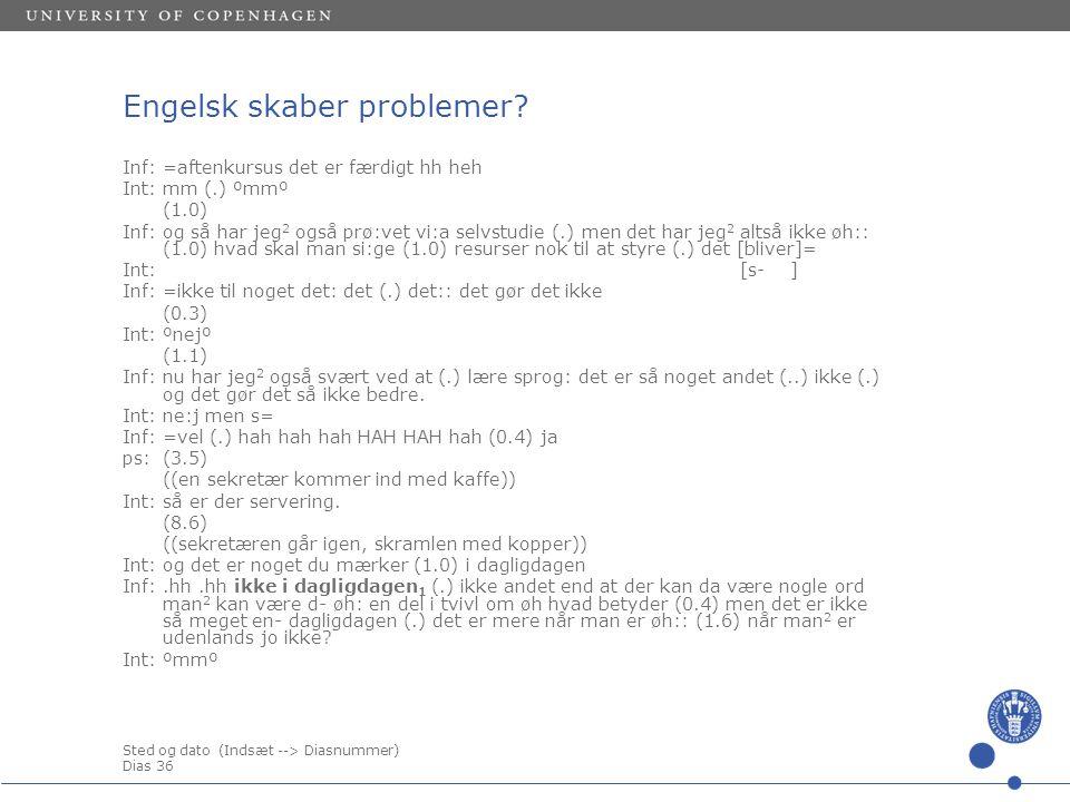 Sted og dato (Indsæt --> Diasnummer) Dias 36 Engelsk skaber problemer.