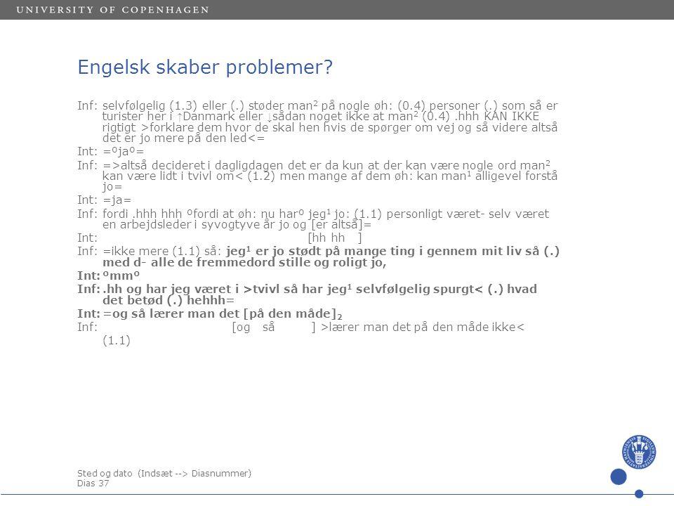 Sted og dato (Indsæt --> Diasnummer) Dias 37 Engelsk skaber problemer.