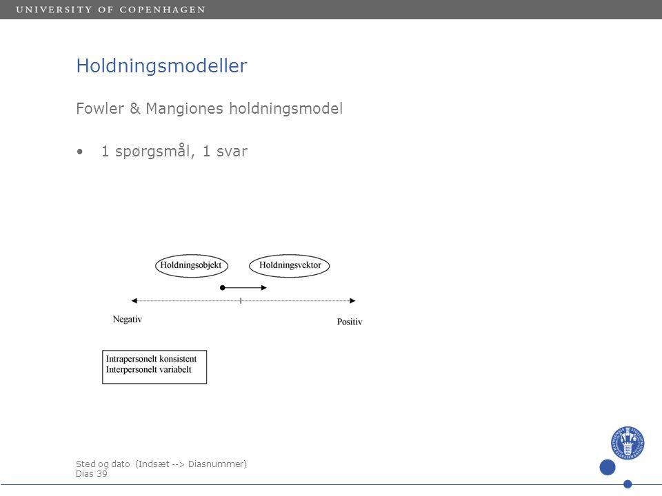 Sted og dato (Indsæt --> Diasnummer) Dias 39 Holdningsmodeller Fowler & Mangiones holdningsmodel 1 spørgsmål, 1 svar