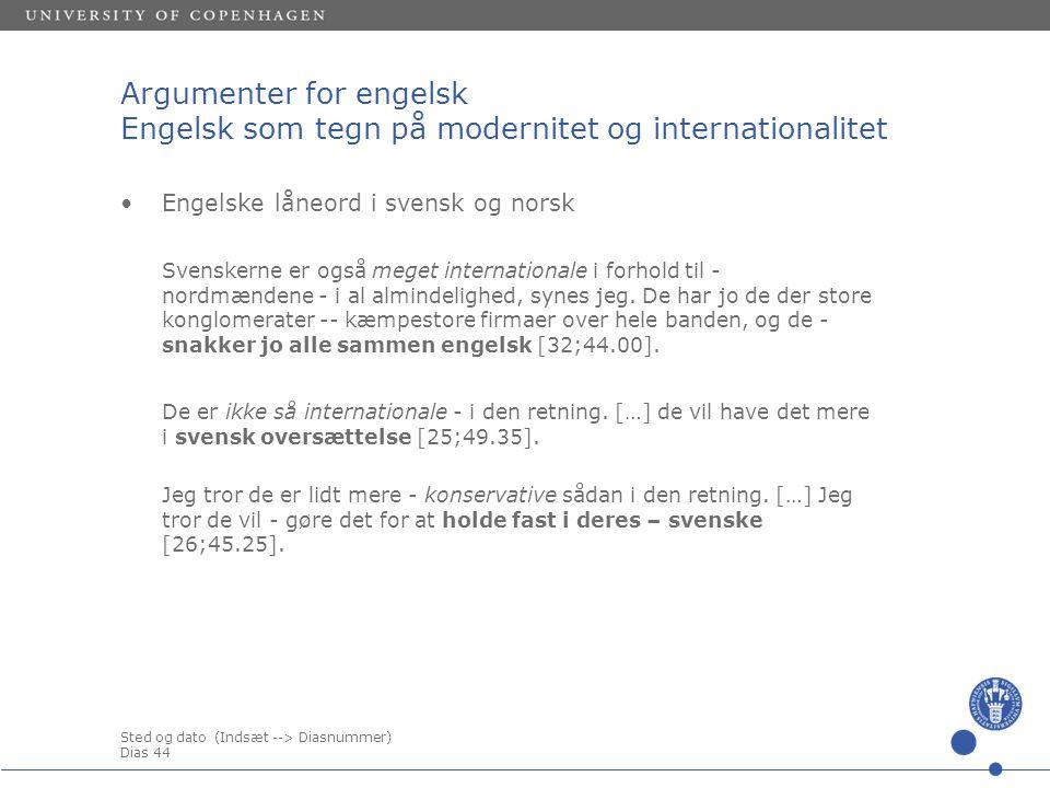 Sted og dato (Indsæt --> Diasnummer) Dias 44 Argumenter for engelsk Engelsk som tegn på modernitet og internationalitet Engelske låneord i svensk og norsk Svenskerne er også meget internationale i forhold til - nordmændene - i al almindelighed, synes jeg.