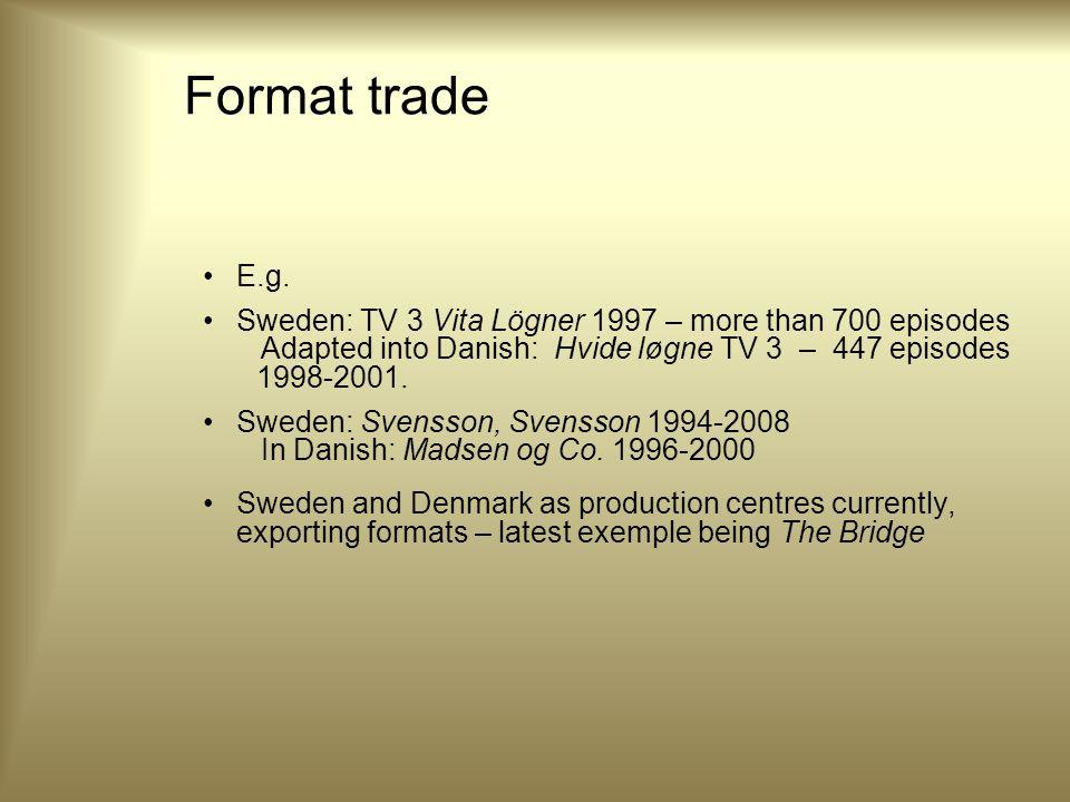 Format trade E.g.