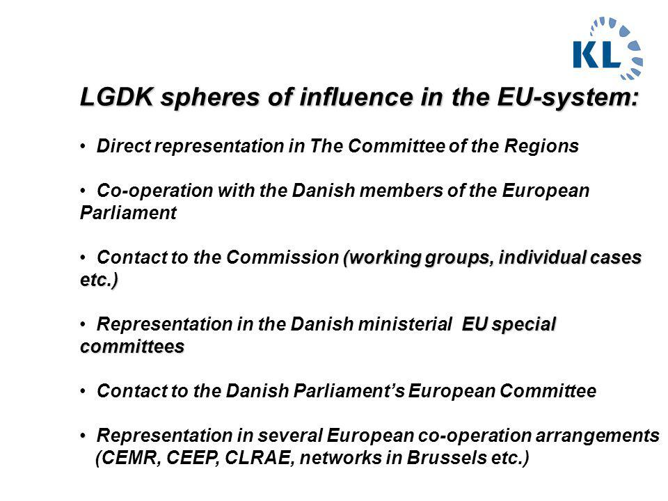 LGDK spheres of influence in the EU-system: Direct representation in The Committee of the Regions Co-operation with the Danish members of the European Parliament (working groups, individual cases etc.) Contact to the Commission (working groups, individual cases etc.) EU special committees Representation in the Danish ministerial EU special committees Contact to the Danish Parliament's European Committee Representation in several European co-operation arrangements (CEMR, CEEP, CLRAE, networks in Brussels etc.)