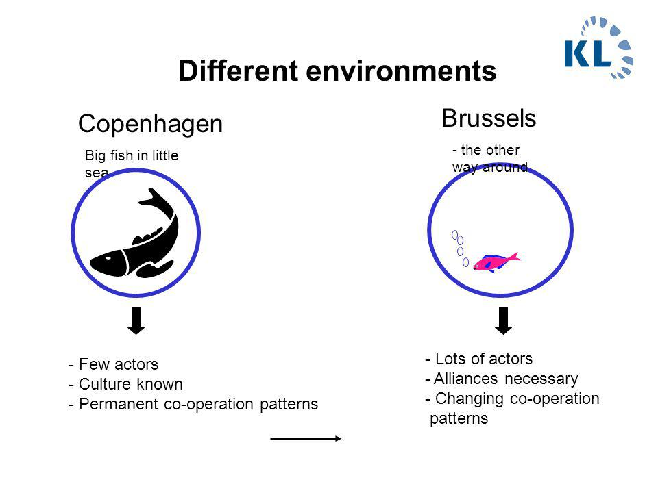 Different environments Copenhagen Brussels Big fish in little sea - the other way around - Lots of actors - Alliances necessary - Changing co-operation patterns - Few actors - Culture known - Permanent co-operation patterns