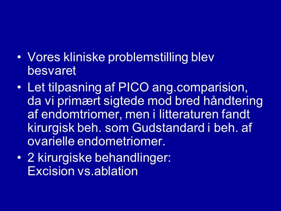 Vores kliniske problemstilling blev besvaret Let tilpasning af PICO ang.comparision, da vi primært sigtede mod bred håndtering af endomtriomer, men i litteraturen fandt kirurgisk beh.
