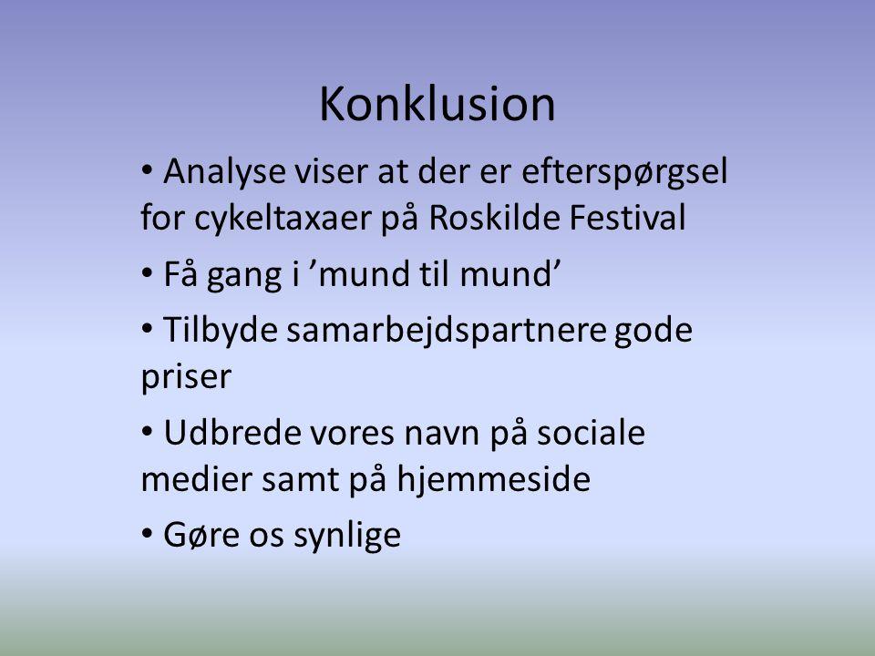 Konklusion Analyse viser at der er efterspørgsel for cykeltaxaer på Roskilde Festival Få gang i 'mund til mund' Tilbyde samarbejdspartnere gode priser Udbrede vores navn på sociale medier samt på hjemmeside Gøre os synlige
