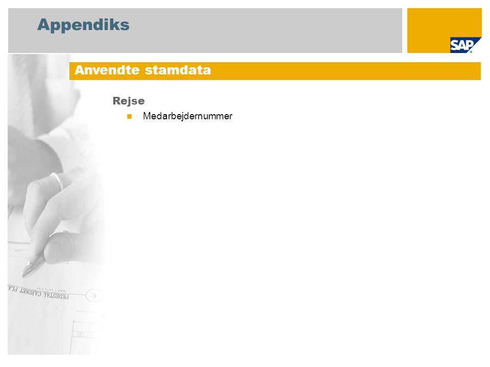 Appendiks Rejse Medarbejdernummer Anvendte stamdata