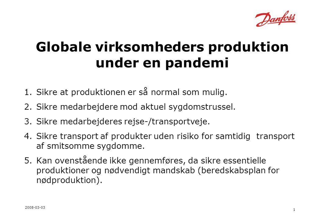 1 2008-03-03 Globale virksomheders produktion under en pandemi 1.Sikre at produktionen er så normal som mulig.