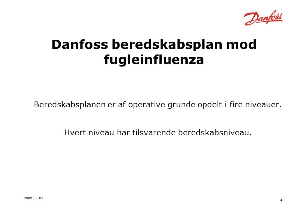 4 2008-03-03 Danfoss beredskabsplan mod fugleinfluenza Beredskabsplanen er af operative grunde opdelt i fire niveauer.