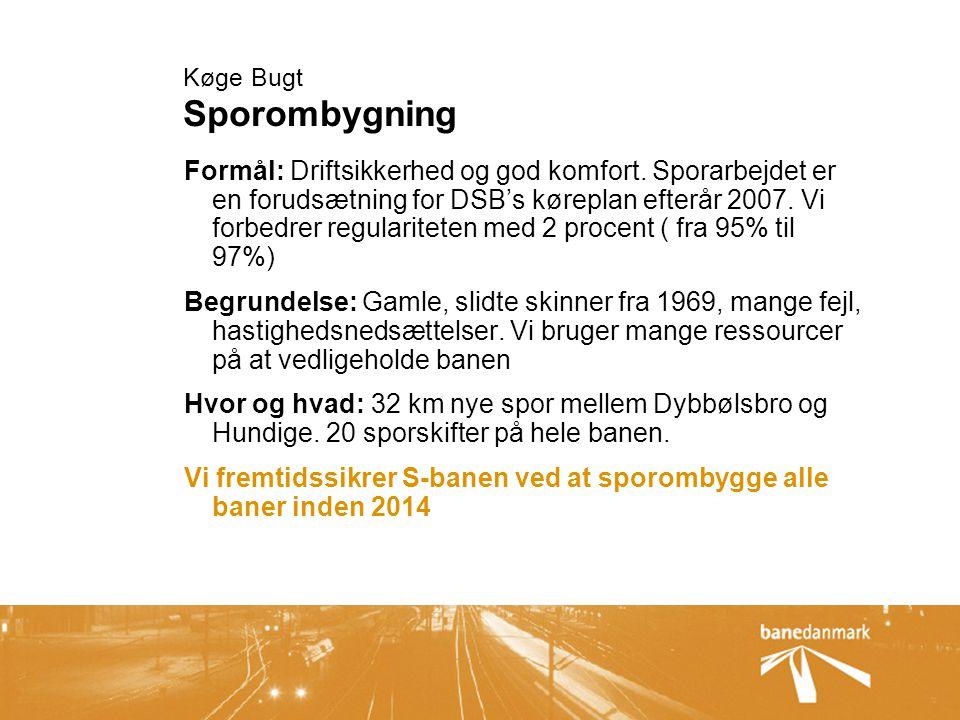 Køge Bugt Sporombygning Formål: Driftsikkerhed og god komfort.