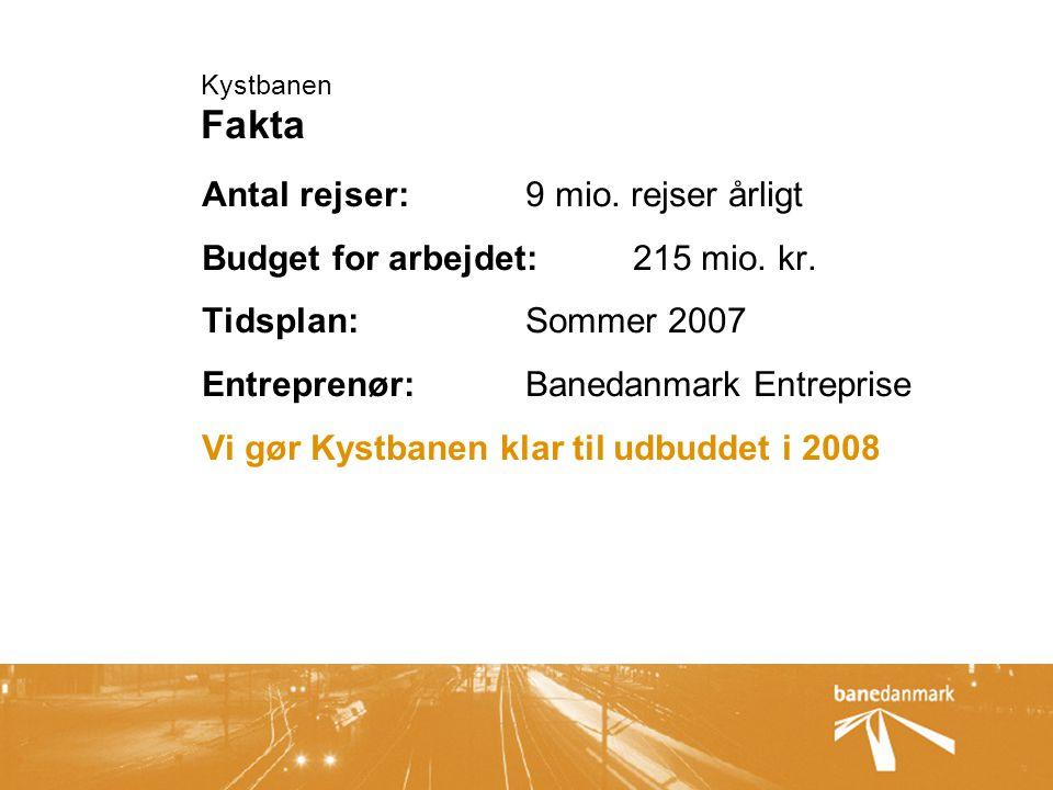 Kystbanen Fakta Antal rejser:9 mio. rejser årligt Budget for arbejdet: 215 mio.