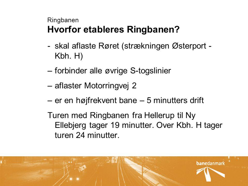 Ringbanen Hvorfor etableres Ringbanen. -skal aflaste Røret (strækningen Østerport - Kbh.