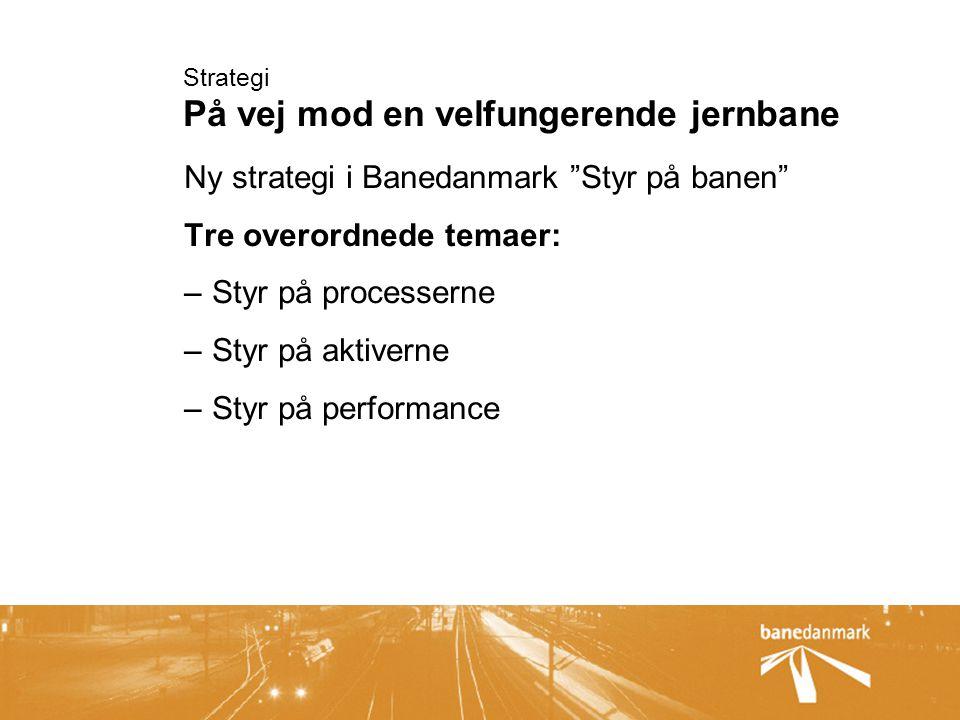 Strategi På vej mod en velfungerende jernbane Ny strategi i Banedanmark Styr på banen Tre overordnede temaer: –Styr på processerne –Styr på aktiverne –Styr på performance