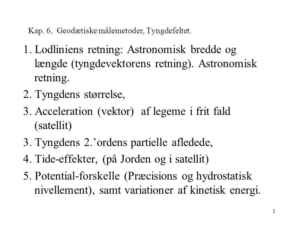 1 Kap. 6, Geodætiske målemetoder, Tyngdefeltet. 1.