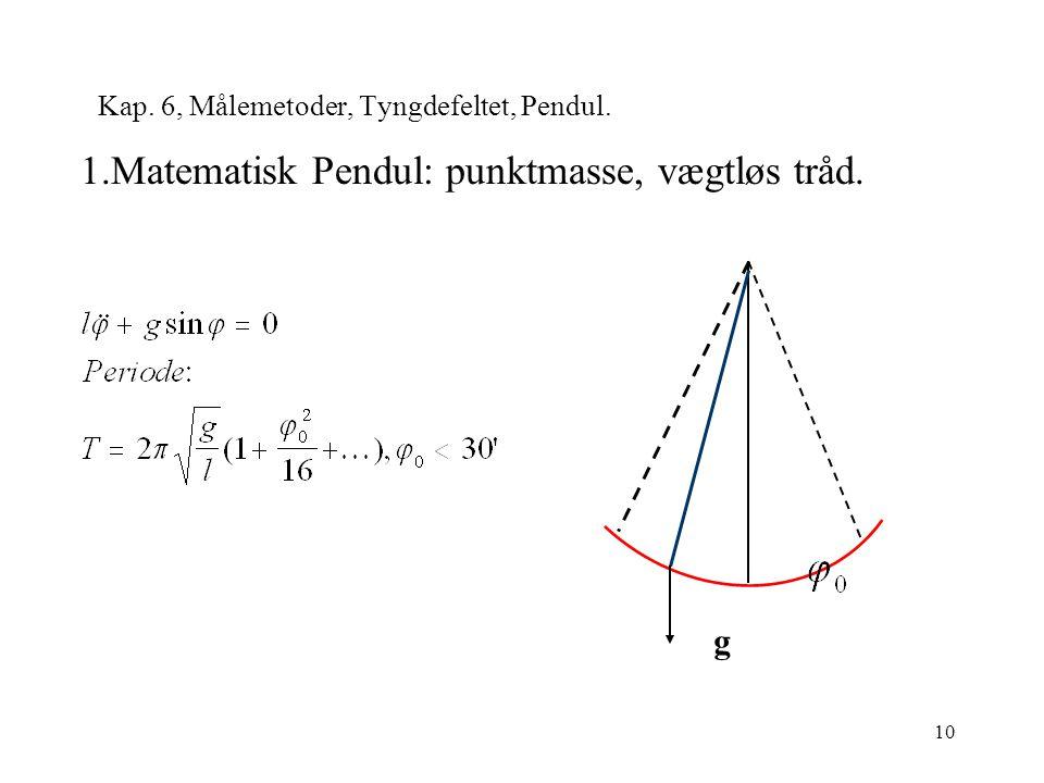 10 Kap. 6, Målemetoder, Tyngdefeltet, Pendul. 1.Matematisk Pendul: punktmasse, vægtløs tråd. g