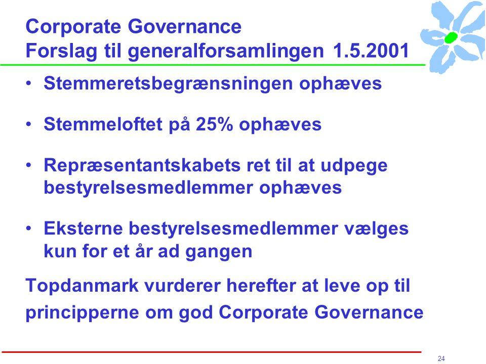 24 Corporate Governance Forslag til generalforsamlingen 1.5.2001 Stemmeretsbegrænsningen ophæves Stemmeloftet på 25% ophæves Repræsentantskabets ret til at udpege bestyrelsesmedlemmer ophæves Eksterne bestyrelsesmedlemmer vælges kun for et år ad gangen Topdanmark vurderer herefter at leve op til principperne om god Corporate Governance