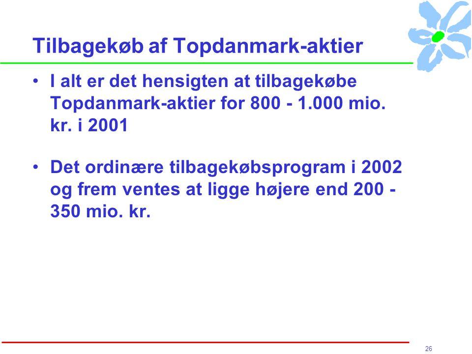 26 Tilbagekøb af Topdanmark-aktier I alt er det hensigten at tilbagekøbe Topdanmark-aktier for 800 - 1.000 mio.