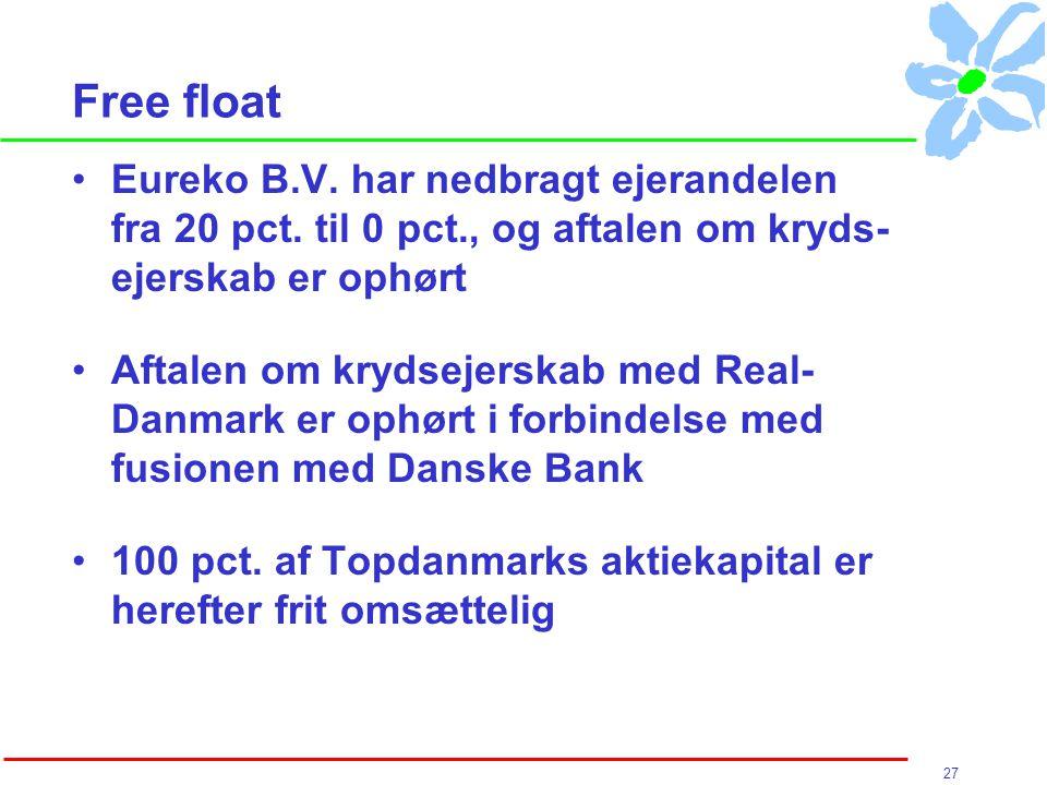 27 Free float Eureko B.V. har nedbragt ejerandelen fra 20 pct.