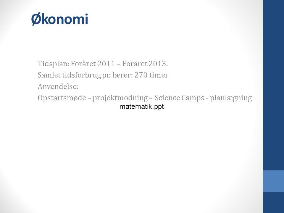 Økonomi Tidsplan: Foråret 2011 – Foråret 2013. Samlet tidsforbrug pr.