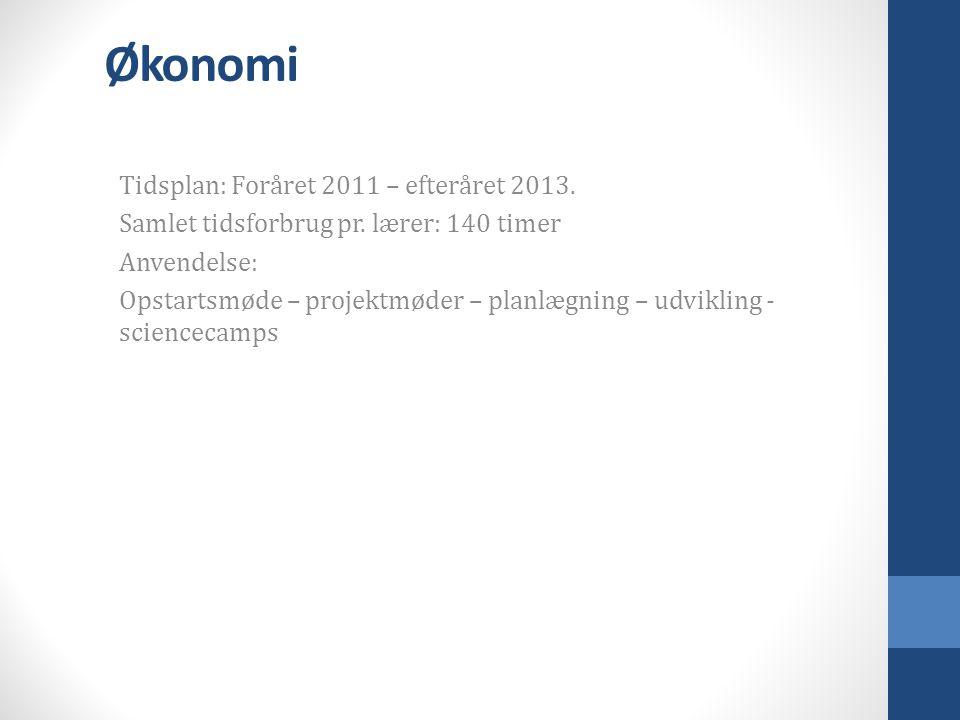 Økonomi Tidsplan: Foråret 2011 – efteråret 2013. Samlet tidsforbrug pr.