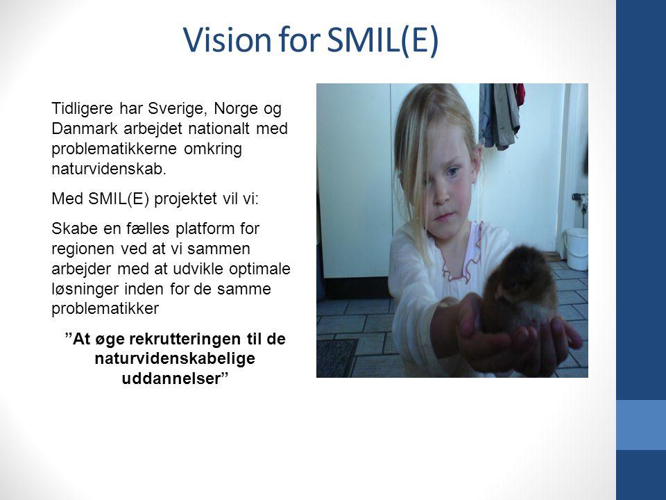 Vision for SMIL(E) Tidligere har Sverige, Norge og Danmark arbejdet nationalt med problematikkerne omkring naturvidenskab.