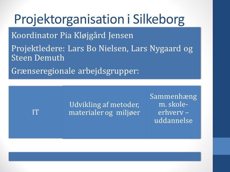 Projektorganisation i Silkeborg Koordinator Pia Kløjgård Jensen Projektledere: Lars Bo Nielsen, Lars Nygaard og Steen Demuth Grænseregionale arbejdsgrupper: IT Udvikling af metoder, materialer og miljøer Sammenhæng m.
