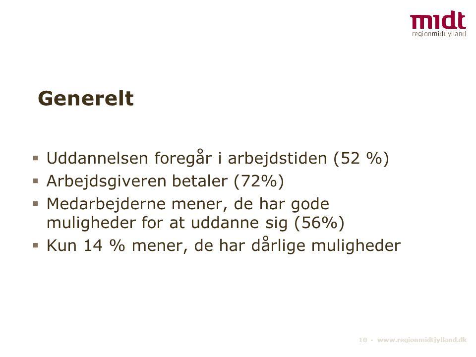 10 ▪ www.regionmidtjylland.dk Generelt  Uddannelsen foregår i arbejdstiden (52 %)  Arbejdsgiveren betaler (72%)  Medarbejderne mener, de har gode muligheder for at uddanne sig (56%)  Kun 14 % mener, de har dårlige muligheder