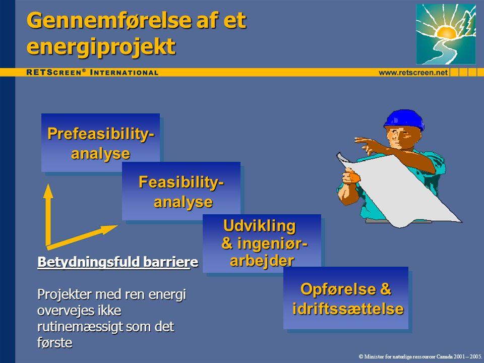 Prefeasibility- analyse Feasibility- analyse Udvikling & ingeniør- arbejder Opførelse & idriftssættelse Betydningsfuld barriere Projekter med ren energi overvejes ikke rutinemæssigt som det første Gennemførelse af et energiprojekt © Minister for naturlige ressourcer Canada 2001 – 2005.