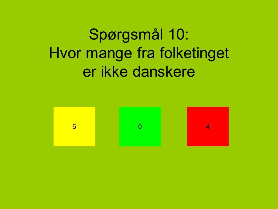 Spørgsmål 10: Hvor mange fra folketinget er ikke danskere 604