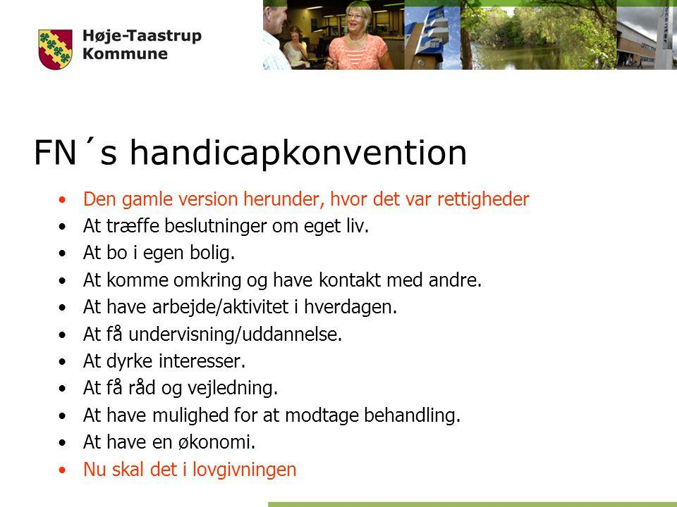 FN´s handicapkonvention Den gamle version herunder, hvor det var rettigheder At træffe beslutninger om eget liv.