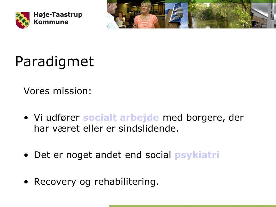 Paradigmet Vores mission: Vi udfører socialt arbejde med borgere, der har været eller er sindslidende.