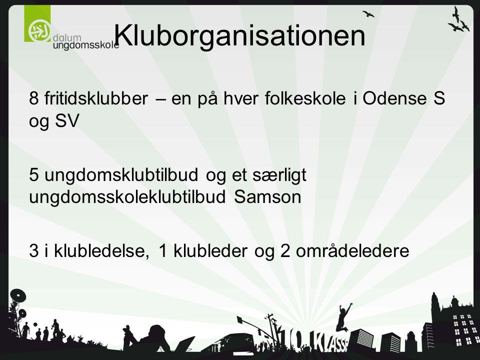 Kluborganisationen 8 fritidsklubber – en på hver folkeskole i Odense S og SV 5 ungdomsklubtilbud og et særligt ungdomsskoleklubtilbud Samson 3 i klubledelse, 1 klubleder og 2 områdeledere
