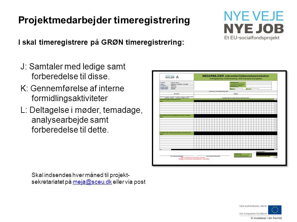 Projektmedarbejder timeregistrering I skal timeregistrere på GRØN timeregistrering: J: Samtaler med ledige samt forberedelse til disse.
