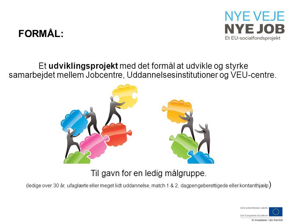FORMÅL: Et udviklingsprojekt med det formål at udvikle og styrke samarbejdet mellem Jobcentre, Uddannelsesinstitutioner og VEU-centre.