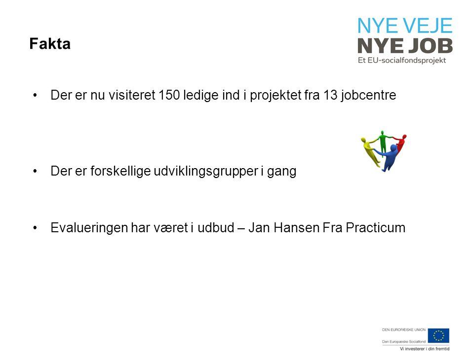 Fakta Der er nu visiteret 150 ledige ind i projektet fra 13 jobcentre Der er forskellige udviklingsgrupper i gang Evalueringen har været i udbud – Jan Hansen Fra Practicum