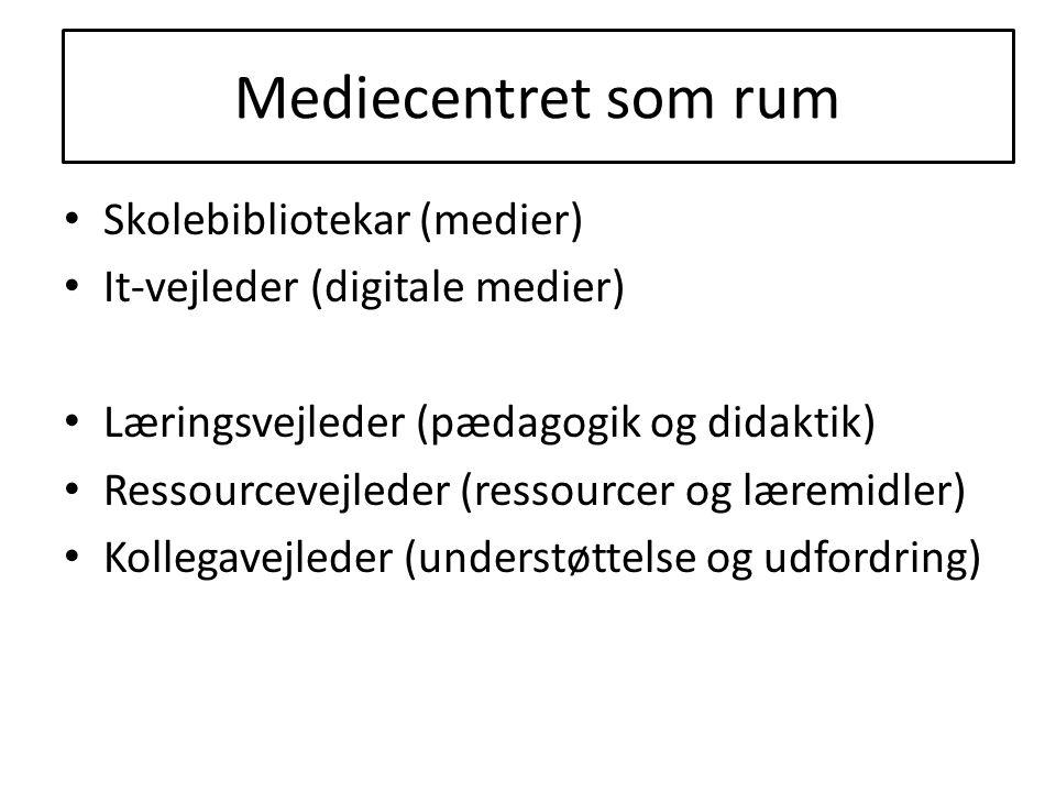Mediecentret som rum Skolebibliotekar (medier) It-vejleder (digitale medier) Læringsvejleder (pædagogik og didaktik) Ressourcevejleder (ressourcer og læremidler) Kollegavejleder (understøttelse og udfordring) Mediecentret som rum