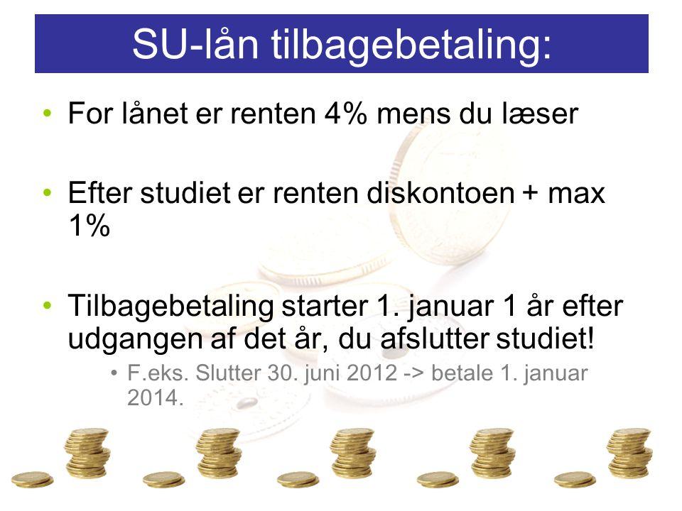 For lånet er renten 4% mens du læser Efter studiet er renten diskontoen + max 1% Tilbagebetaling starter 1.