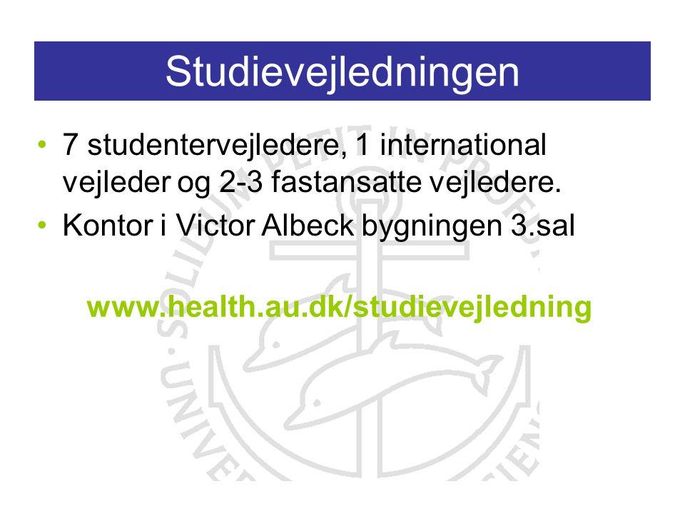 Studievejledningen 7 studentervejledere, 1 international vejleder og 2-3 fastansatte vejledere.