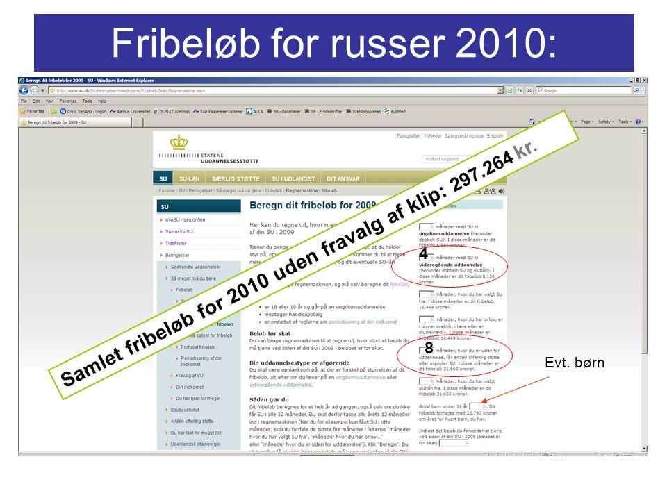 4 8 Fribeløb for russer 2010: Samlet fribeløb for 2010 uden fravalg af klip: 297.264 kr. Evt. børn