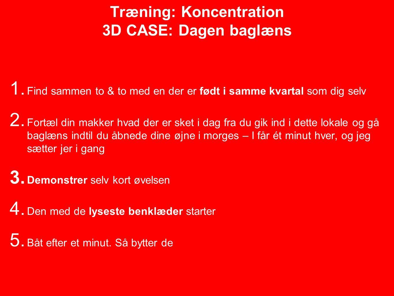 Træning: Koncentration 3D CASE: Dagen baglæns 1.