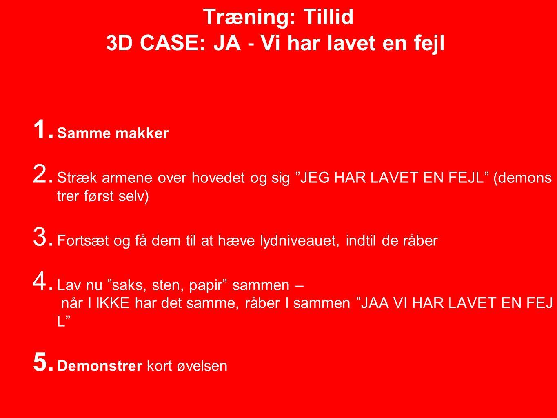 Træning: Tillid 3D CASE: JA ‐ Vi har lavet en fejl 1.