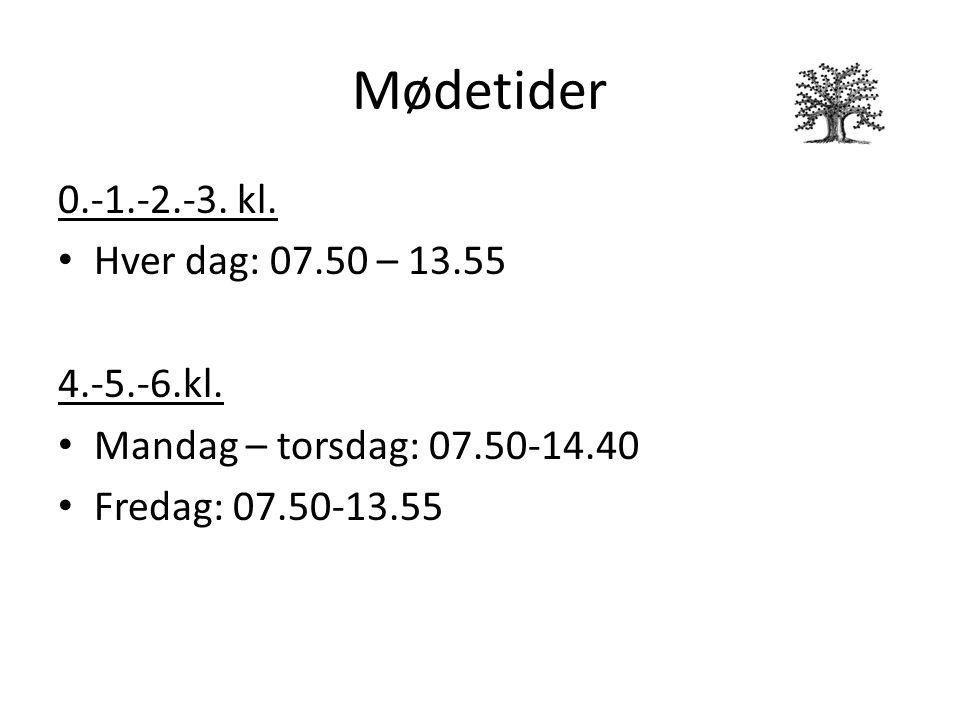 Mødetider 0.-1.-2.-3. kl. Hver dag: 07.50 – 13.55 4.-5.-6.kl.
