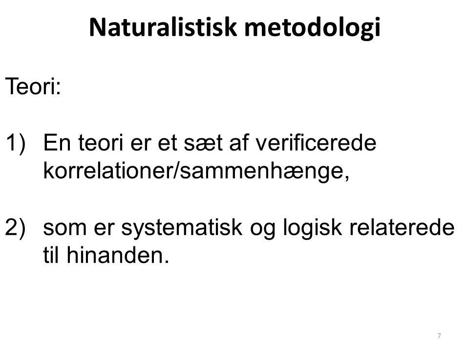 Naturalistisk metodologi Teori: 1)En teori er et sæt af verificerede korrelationer/sammenhænge, 2)som er systematisk og logisk relaterede til hinanden.
