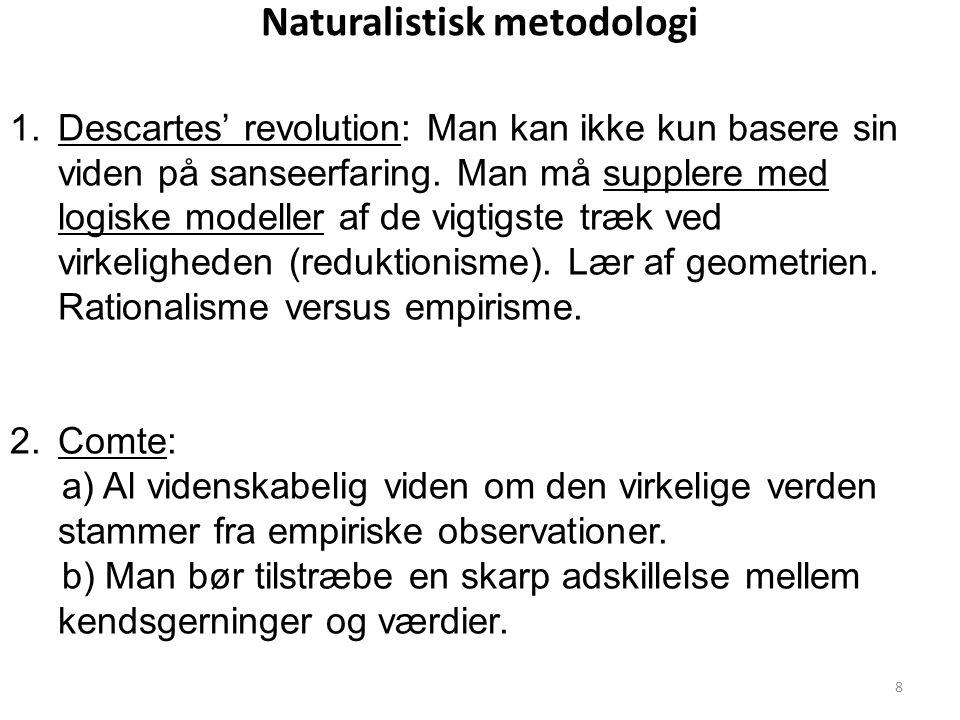 Naturalistisk metodologi 1.Descartes' revolution: Man kan ikke kun basere sin viden på sanseerfaring.