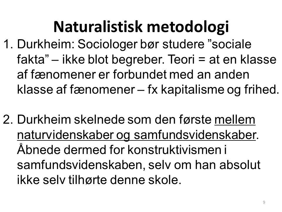 Naturalistisk metodologi 1.Durkheim: Sociologer bør studere sociale fakta – ikke blot begreber.